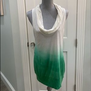 MM COUTURE GREEN OMBRÉ SLEEVELESS COWL NECK TOP